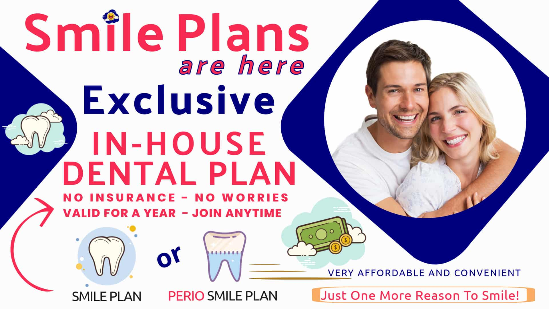 In House Dental Plans for families and individuals with no dental insurance.